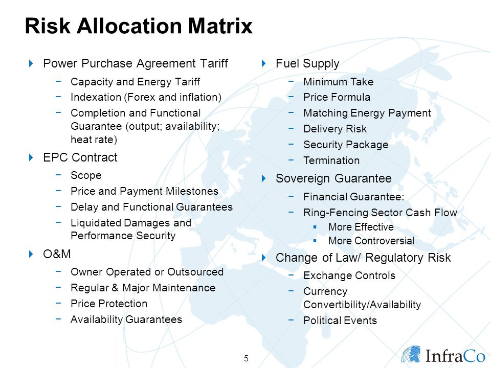 Risk Allocation Matrix Power Purchase Agreement Tariff Capacity and Energy Tariff Indexation (Forex and inflation) Completion and Functional Guarantee (output; availability; heat rate) EPC Contract Scope Price and Payment Milestones Delay and Functional Guarantees Liquidated Damages and Performance Security O&M Owner Operated or Outsourced Regular & Major Maintenance Price Protection Availability Guarantees 5 Fuel Supply Minimum Take Price Formula Matching Energy Payment Delivery Risk Security Package Termination Sovereign Guarantee Financial Guarantee: Ring-Fencing Sector Cash Flow More Effective More Controversial Change of Law/ Regulatory Risk Exchange Controls Currency Convertibility/Availability Political Events