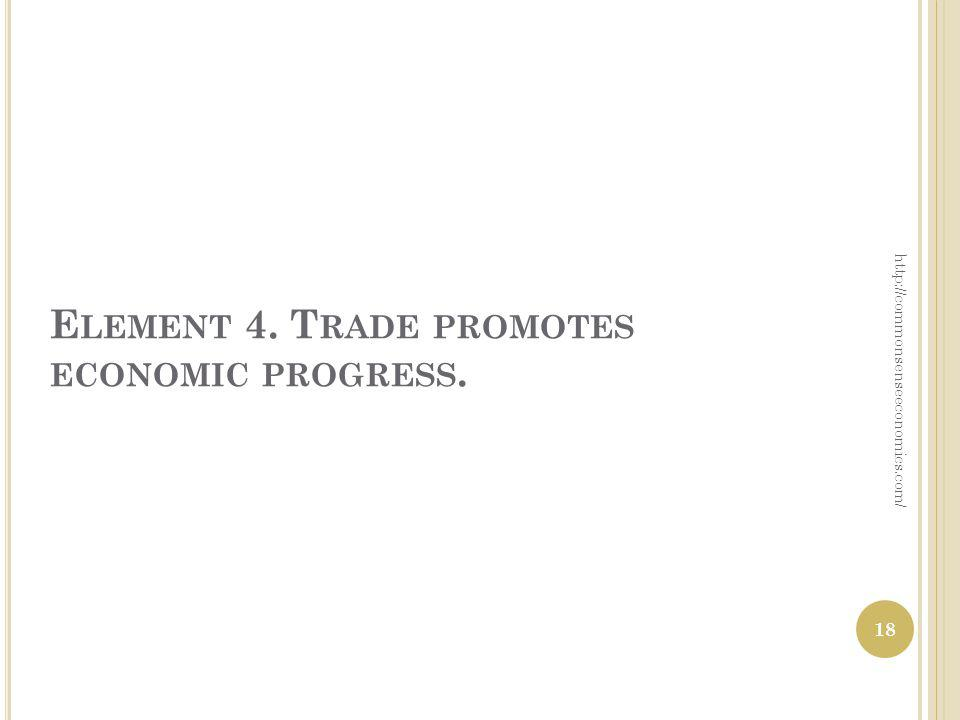 E LEMENT 4. T RADE PROMOTES ECONOMIC PROGRESS. http://commonsenseeconomics.com/ 18