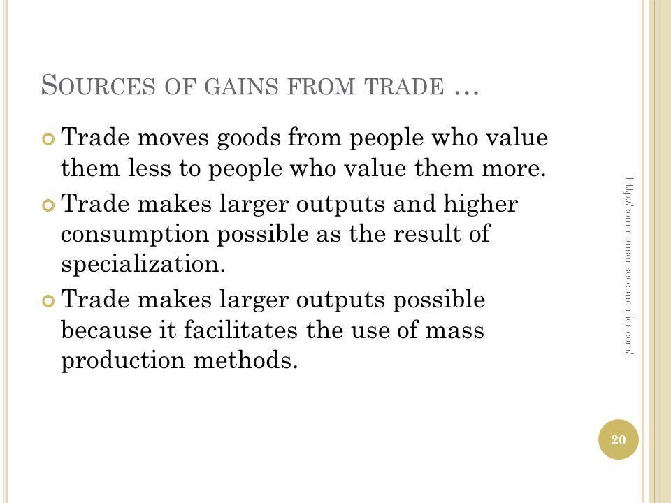 S OURCES OF GAINS FROM TRADE … Trade moves goods from people who value them less to people who value them more. Trade makes larger outputs and higher