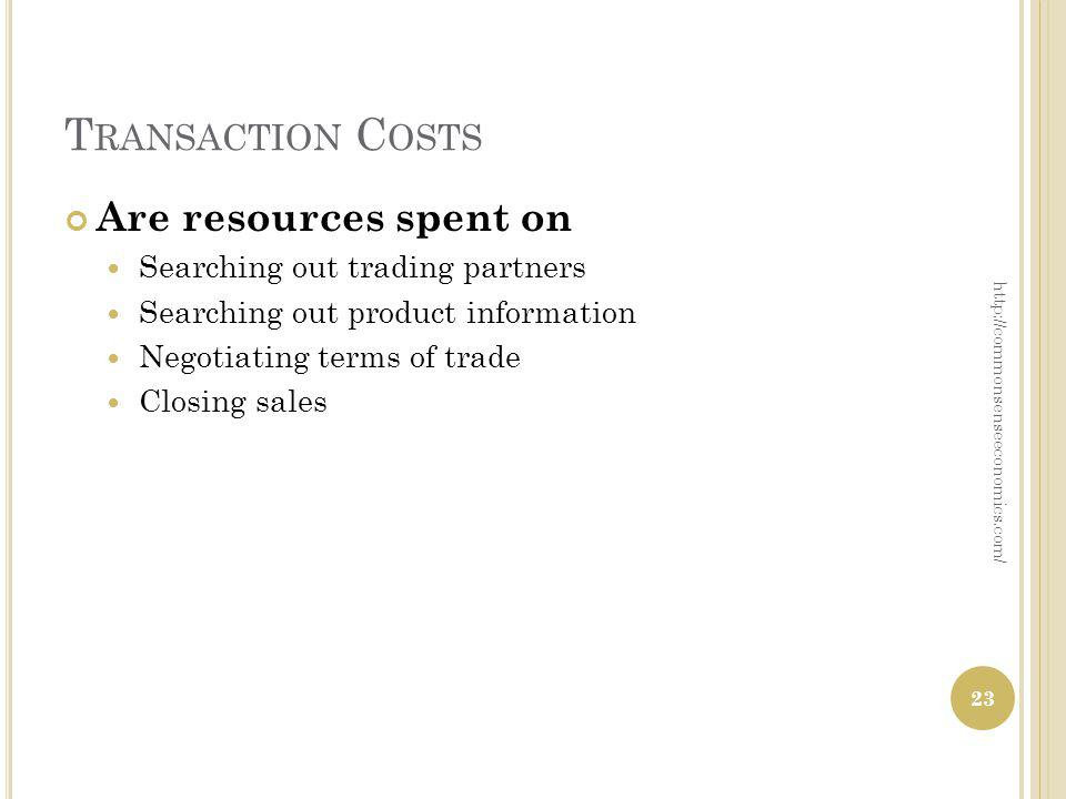 T RANSACTION C OSTS Are resources spent on Searching out trading partners Searching out product information Negotiating terms of trade Closing sales h