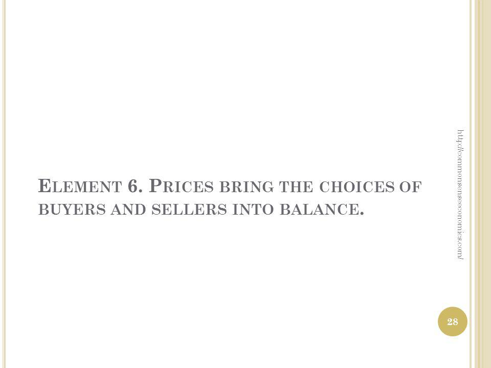E LEMENT 6. P RICES BRING THE CHOICES OF BUYERS AND SELLERS INTO BALANCE. http://commonsenseeconomics.com/ 28