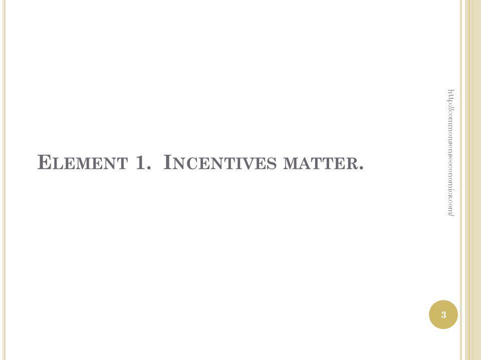 E LEMENT 1. I NCENTIVES MATTER. http://commonsenseeconomics.com/ 3