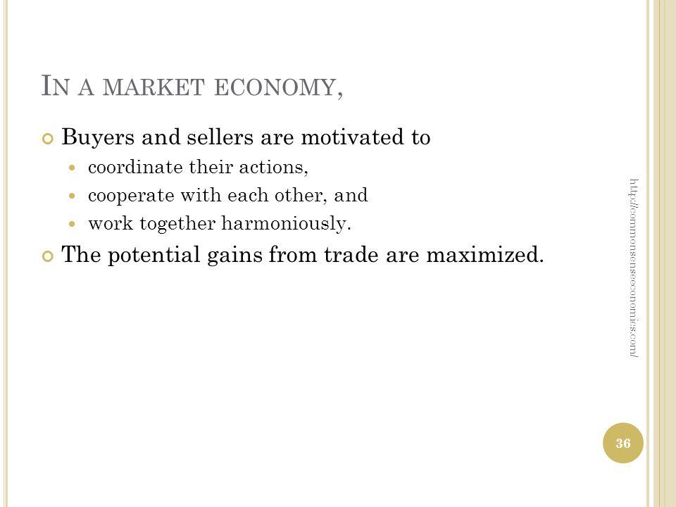 I N A MARKET ECONOMY, Buyers and sellers are motivated to coordinate their actions, cooperate with each other, and work together harmoniously.