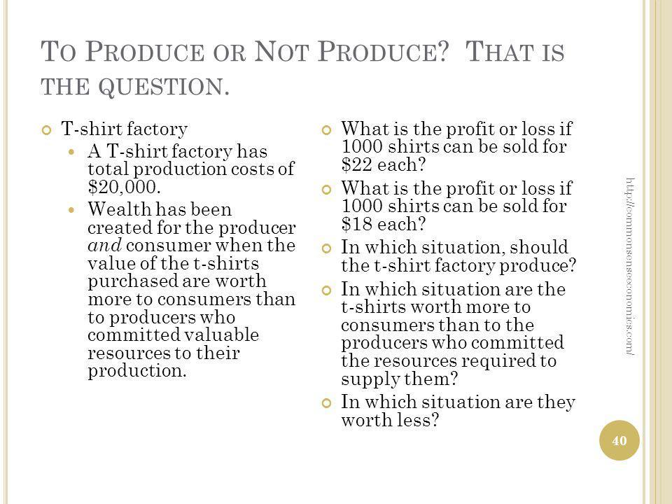 T O P RODUCE OR N OT P RODUCE . T HAT IS THE QUESTION.