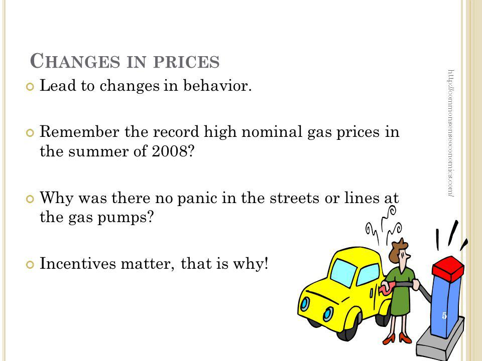C HANGES IN PRICES Lead to changes in behavior. Remember the record high nominal gas prices in the summer of 2008? Why was there no panic in the stree