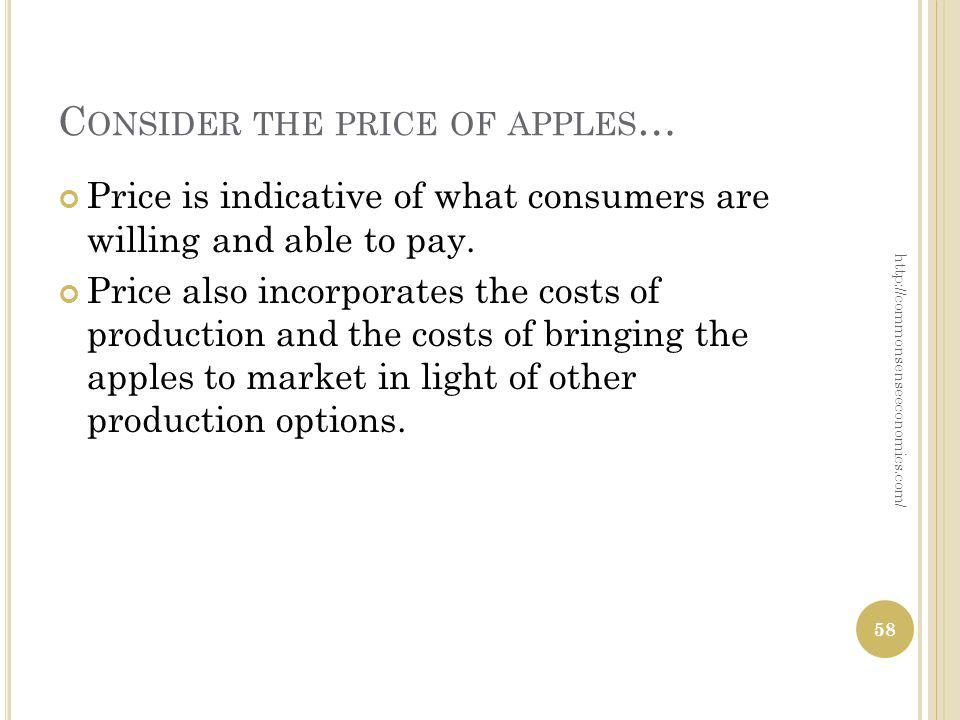 Price is indicative of what consumers are willing and able to pay. Price also incorporates the costs of production and the costs of bringing the apple