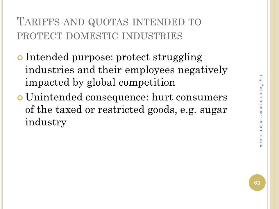 T ARIFFS AND QUOTAS INTENDED TO PROTECT DOMESTIC INDUSTRIES Intended purpose: protect struggling industries and their employees negatively impacted by global competition Unintended consequence: hurt consumers of the taxed or restricted goods, e.g.