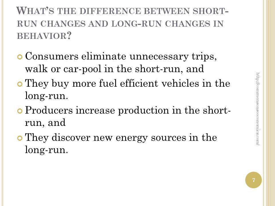 W HAT S THE DIFFERENCE BETWEEN SHORT - RUN CHANGES AND LONG - RUN CHANGES IN BEHAVIOR ? Consumers eliminate unnecessary trips, walk or car-pool in the