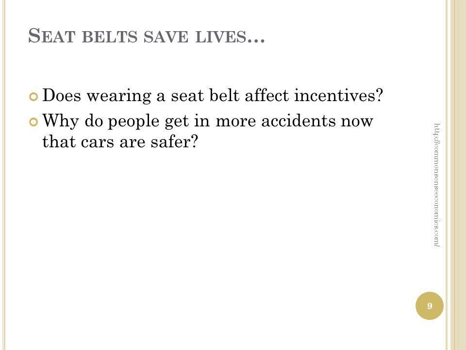 S EAT BELTS SAVE LIVES … Does wearing a seat belt affect incentives.