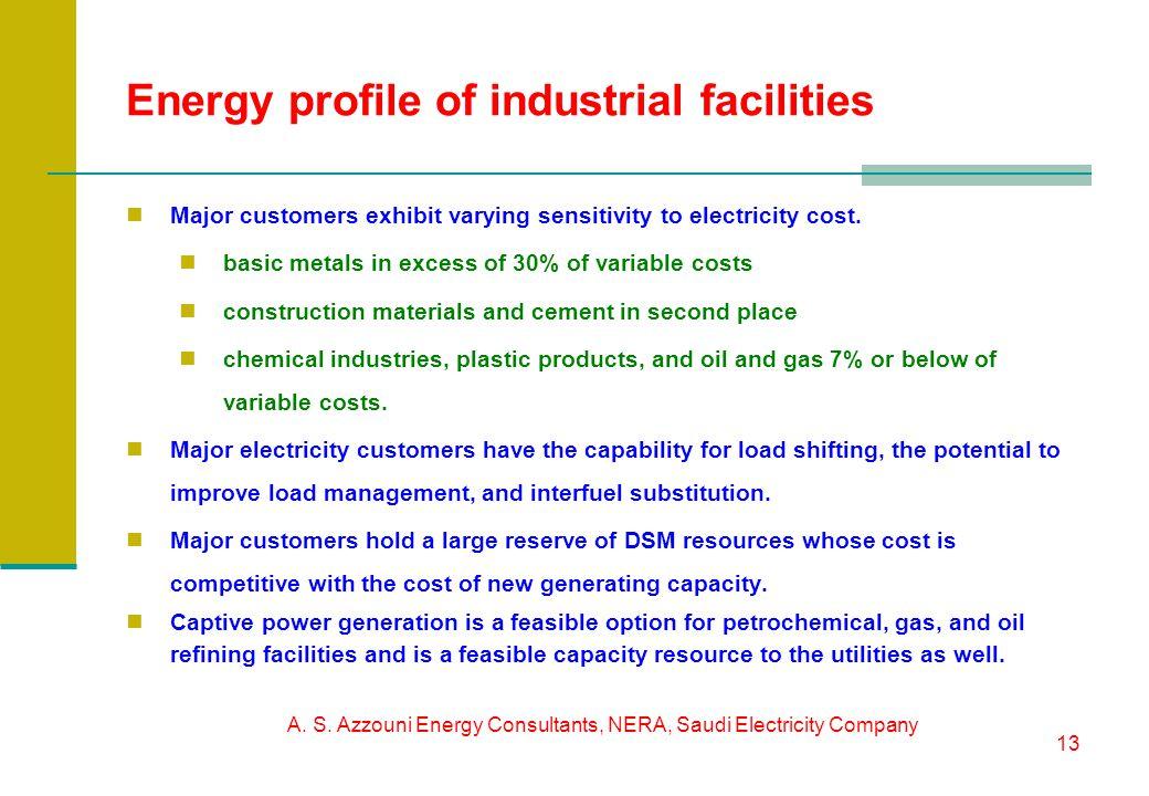 A. S. Azzouni Energy Consultants, NERA, Saudi Electricity Company 13 Energy profile of industrial facilities Major customers exhibit varying sensitivi