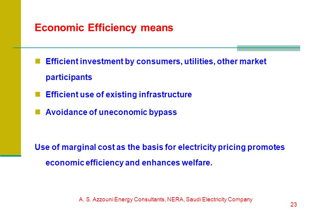 A. S. Azzouni Energy Consultants, NERA, Saudi Electricity Company 23 Economic Efficiency means Efficient investment by consumers, utilities, other mar