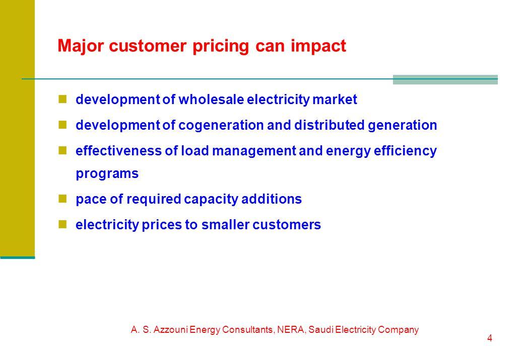 A. S. Azzouni Energy Consultants, NERA, Saudi Electricity Company 4 Major customer pricing can impact development of wholesale electricity market deve