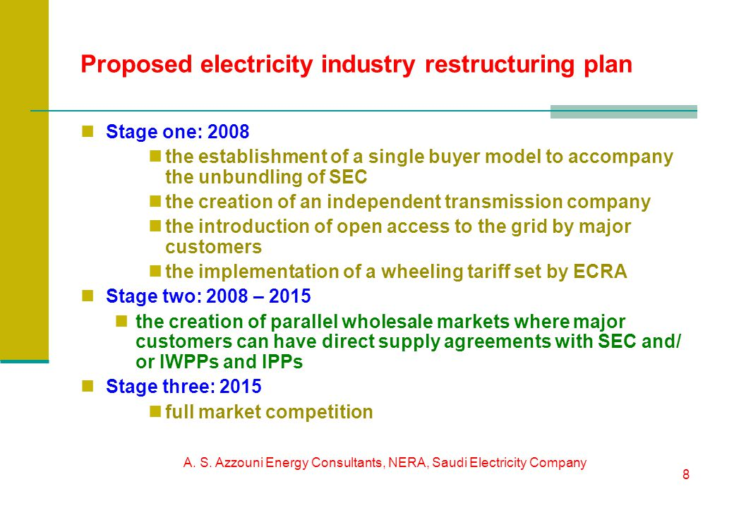 A. S. Azzouni Energy Consultants, NERA, Saudi Electricity Company 8 Proposed electricity industry restructuring plan Stage one: 2008 the establishment