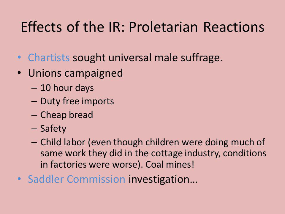 Effects of the IR: Proletarian Reactions Chartists sought universal male suffrage. Unions campaigned – 10 hour days – Duty free imports – Cheap bread