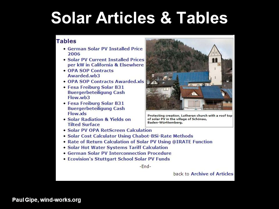 Solar Articles & Tables Paul Gipe, wind-works.org