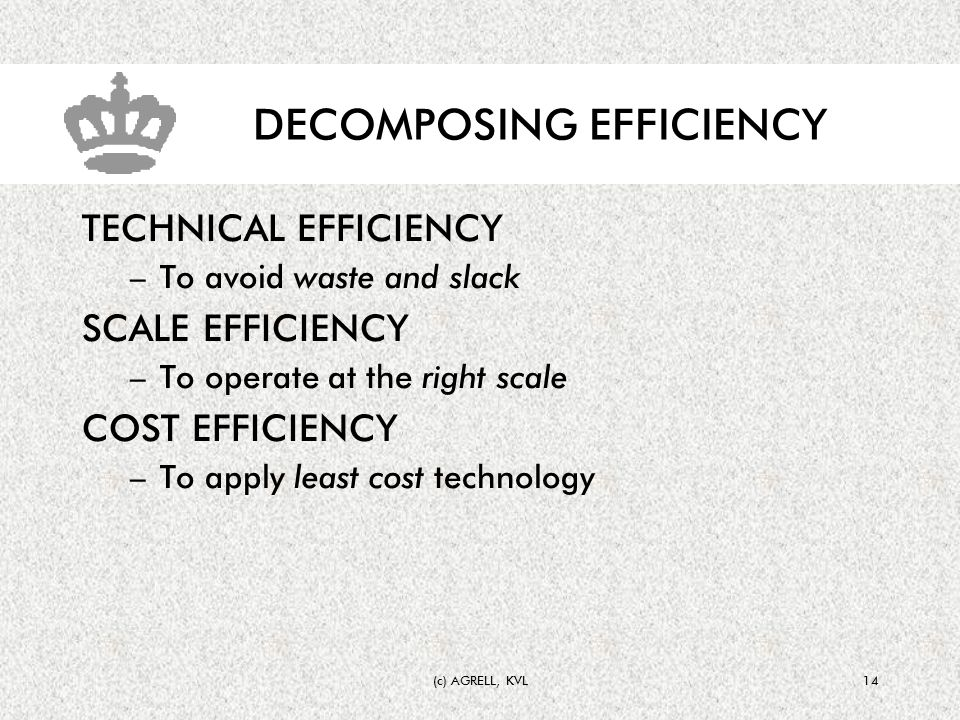 (c) AGRELL, KVL14 DECOMPOSING EFFICIENCY TECHNICAL EFFICIENCY –To avoid waste and slack SCALE EFFICIENCY –To operate at the right scale COST EFFICIENCY –To apply least cost technology