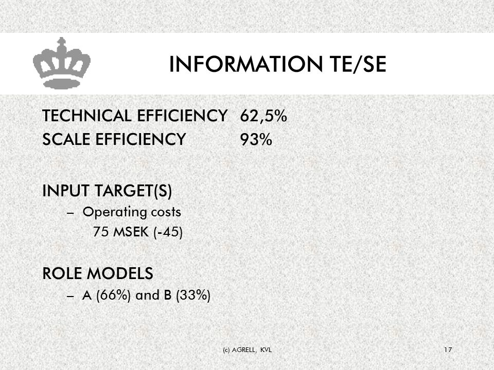 (c) AGRELL, KVL17 INFORMATION TE/SE TECHNICAL EFFICIENCY62,5% SCALE EFFICIENCY93% INPUT TARGET(S) –Operating costs 75 MSEK (-45) ROLE MODELS –A (66%) and B (33%)