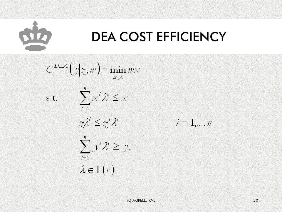 (c) AGRELL, KVL20 DEA COST EFFICIENCY