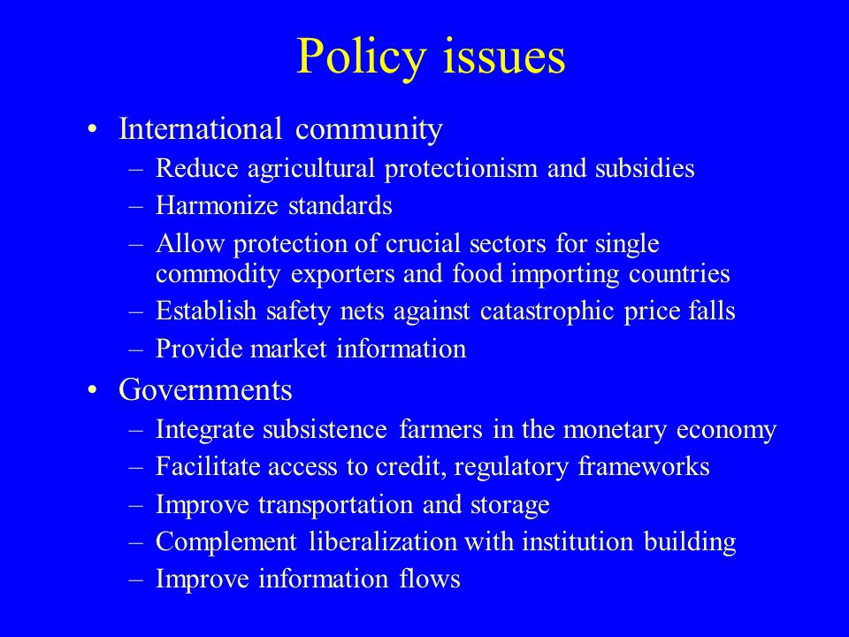 Policy issues International community –Reduce agricultural protectionism and subsidies –Harmonize standards –Allow protection of crucial sectors for s