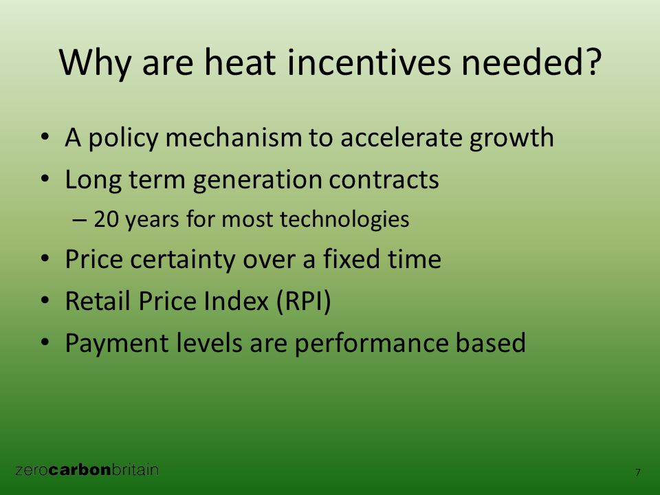 Why are heat incentives needed.
