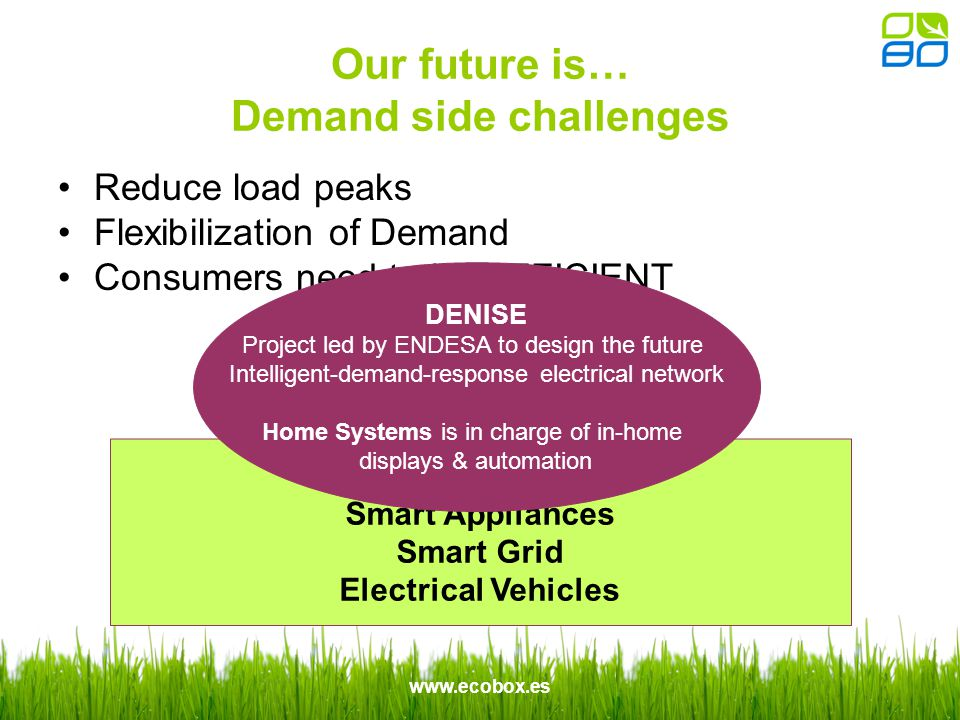 www.ecobox.es Our future is… Demand side challenges Reduce load peaks Flexibilization of Demand Consumers need to be EFFICIENT Smart Metering Smart Appliances Smart Grid Electrical Vehicles DENISE Project led by ENDESA to design the future Intelligent-demand-response electrical network Home Systems is in charge of in-home displays & automation