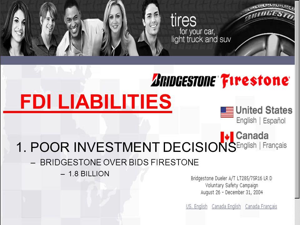 FDI LIABILITIES 1. POOR INVESTMENT DECISIONS –BRIDGESTONE OVER BIDS FIRESTONE –1.8 BILLION
