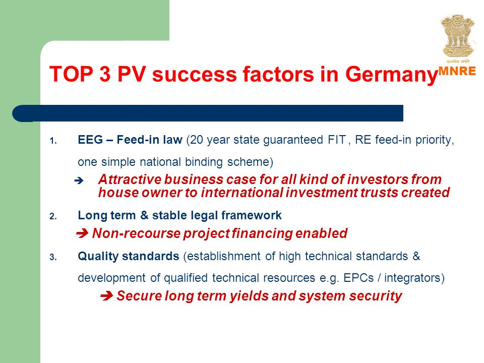 TOP 3 PV success factors in Germany 1.