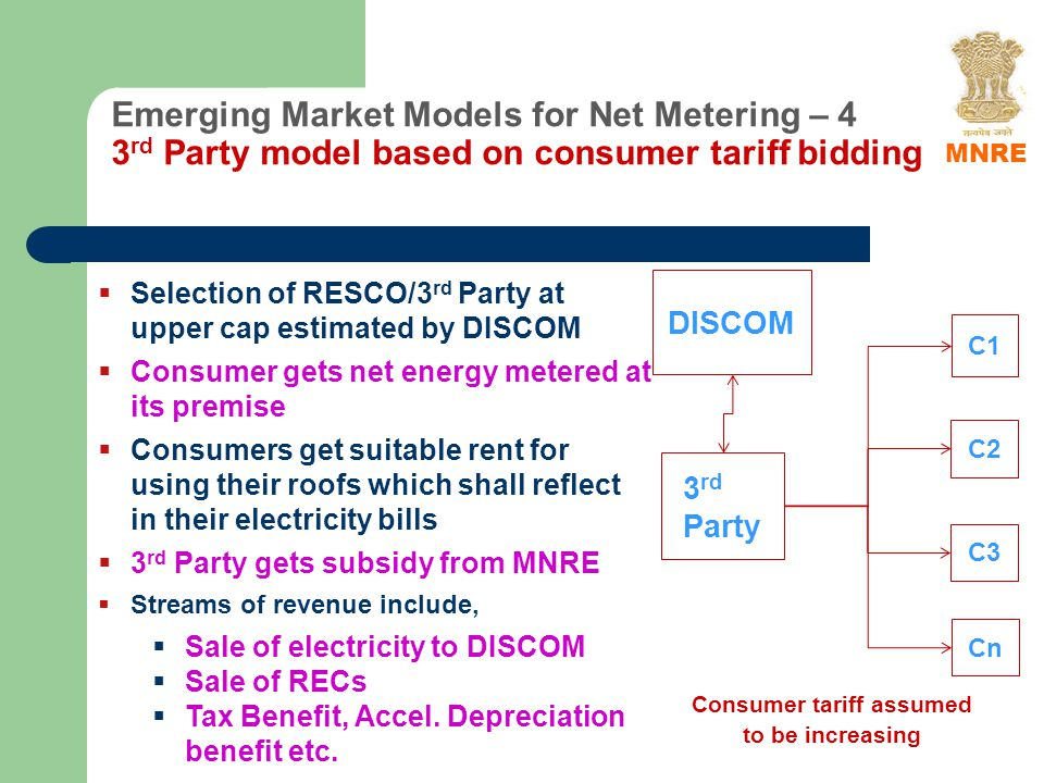 Emerging Market Models for Net Metering – 4 3 rd Party model based on consumer tariff bidding C1 C2 C3 Cn 3 rd Party Selection of RESCO/3 rd Party at upper cap estimated by DISCOM Consumer gets net energy metered at its premise Consumers get suitable rent for using their roofs which shall reflect in their electricity bills 3 rd Party gets subsidy from MNRE Streams of revenue include, Sale of electricity to DISCOM Sale of RECs Tax Benefit, Accel.