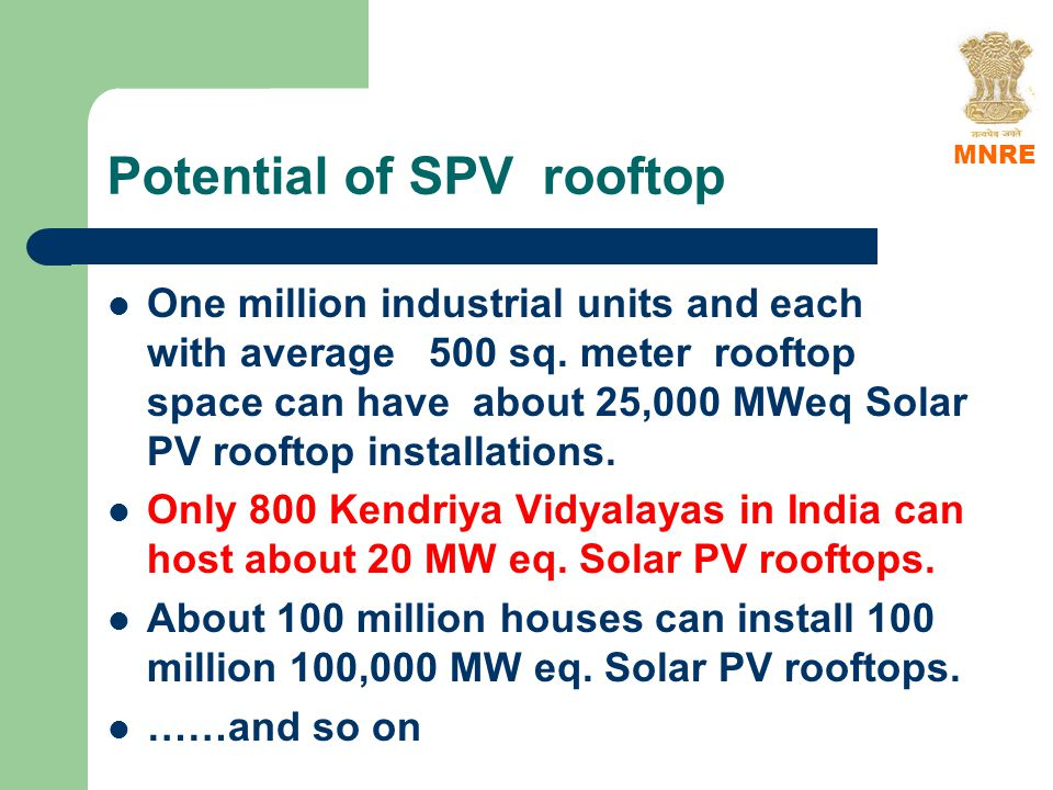 Potential of SPV rooftop One million industrial units and each with average 500 sq.