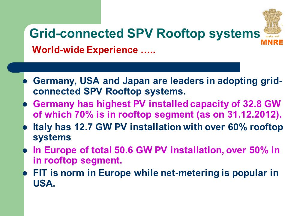 Grid-connected SPV Rooftop systems World-wide Experience …..