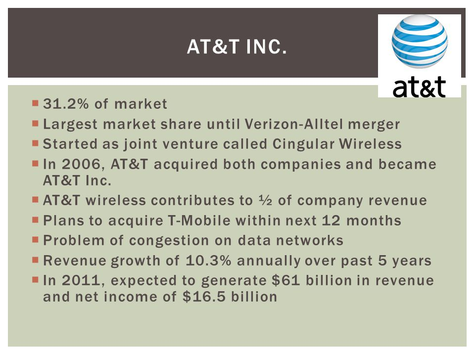 31.2% of market Largest market share until Verizon-Alltel merger Started as joint venture called Cingular Wireless In 2006, AT&T acquired both companies and became AT&T Inc.
