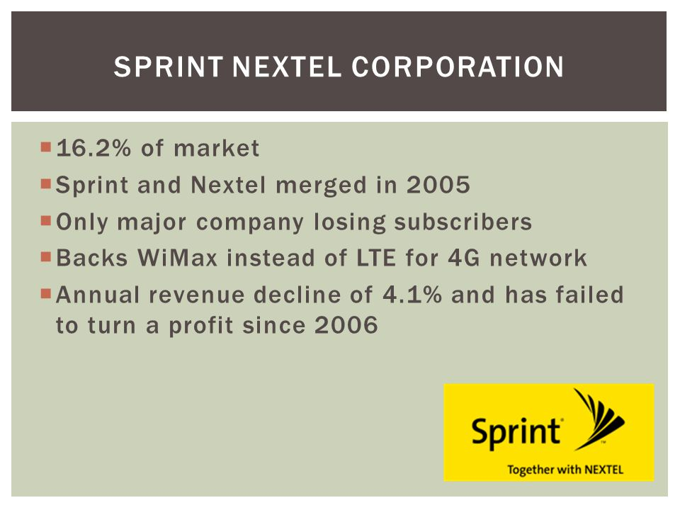 16.2% of market Sprint and Nextel merged in 2005 Only major company losing subscribers Backs WiMax instead of LTE for 4G network Annual revenue decline of 4.1% and has failed to turn a profit since 2006 SPRINT NEXTEL CORPORATION