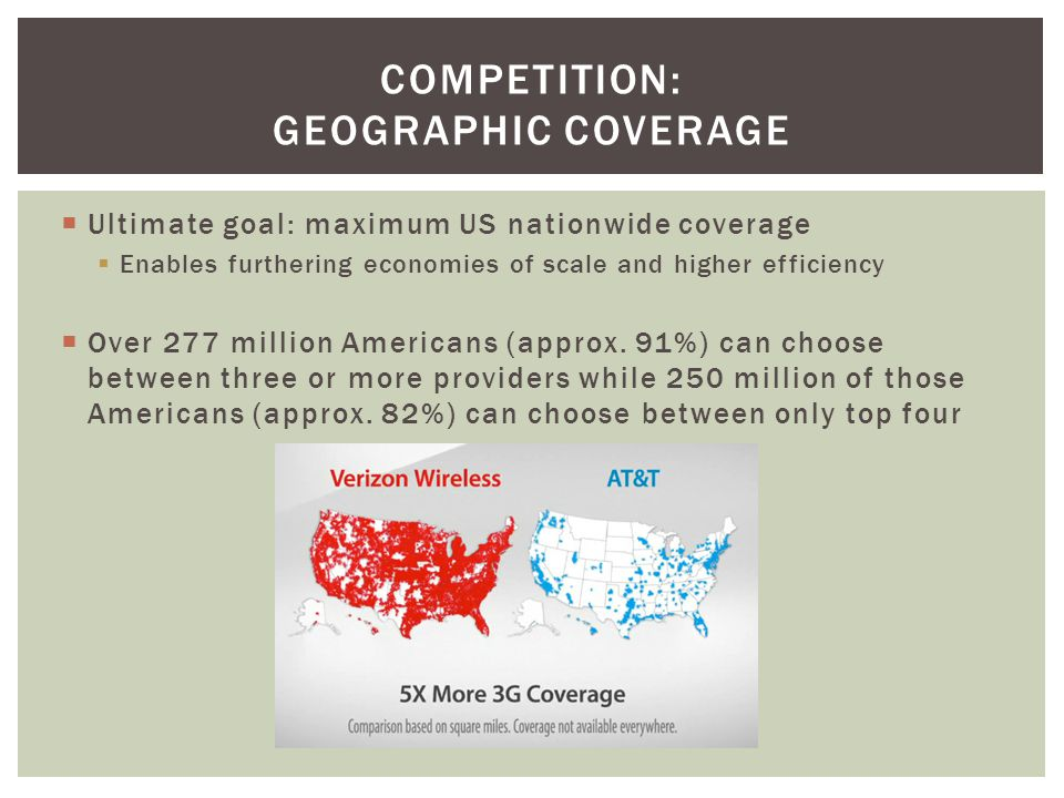Ultimate goal: maximum US nationwide coverage Enables furthering economies of scale and higher efficiency Over 277 million Americans (approx. 91%) can