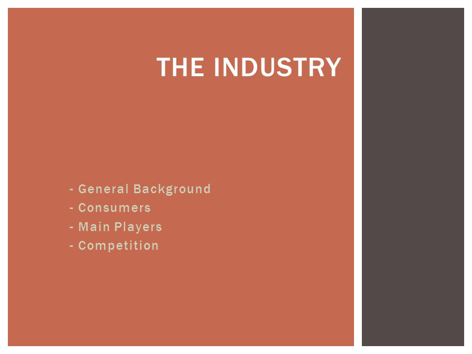 THE INDUSTRY - General Background - Consumers - Main Players - Competition