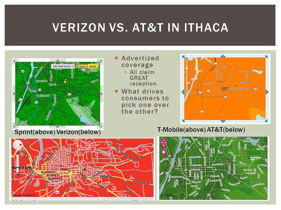 Advertized coverage All claim GREAT reception. What drives consumers to pick one over the other? VERIZON VS. AT&T IN ITHACA Sprint(above) Verizon(belo