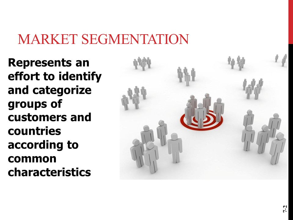 MARKET SEGMENTATION Represents an effort to identify and categorize groups of customers and countries according to common characteristics 7-2