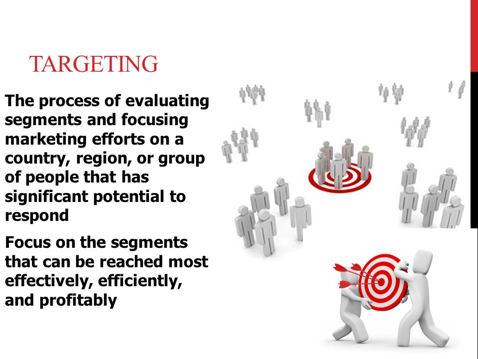 TARGETING The process of evaluating segments and focusing marketing efforts on a country, region, or group of people that has significant potential to