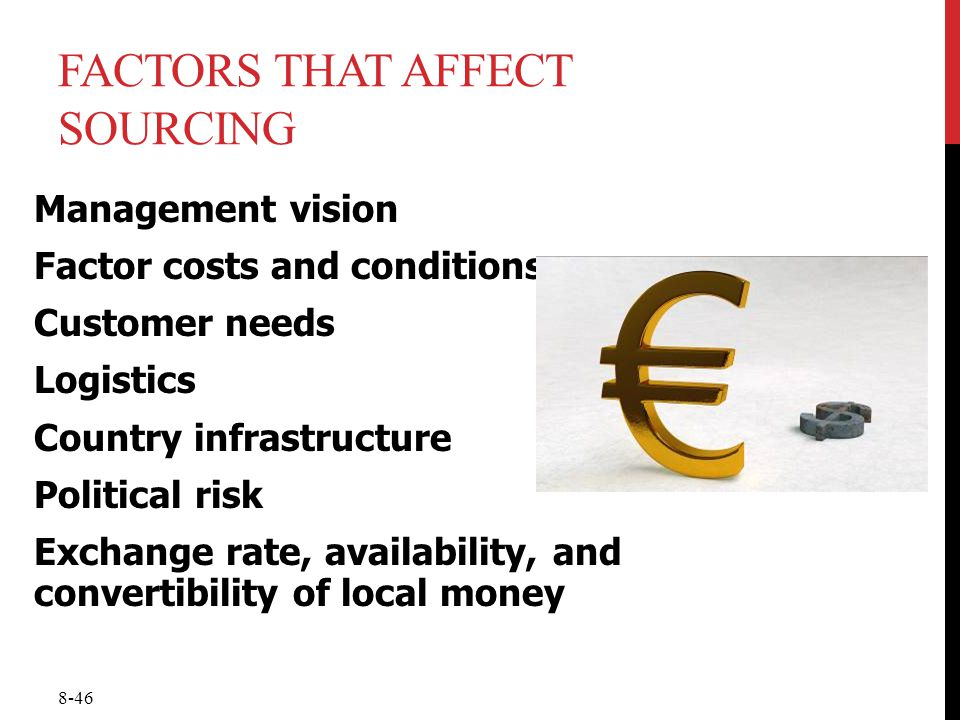 8-46 FACTORS THAT AFFECT SOURCING Management vision Factor costs and conditions Customer needs Logistics Country infrastructure Political risk Exchang