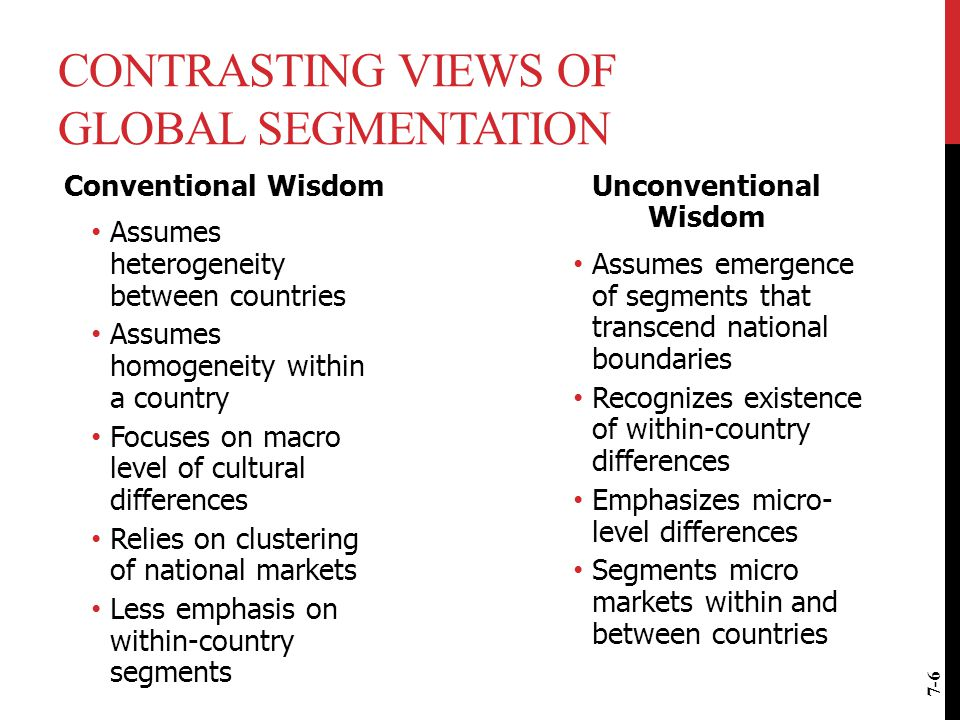 CONTRASTING VIEWS OF GLOBAL SEGMENTATION Conventional Wisdom Assumes heterogeneity between countries Assumes homogeneity within a country Focuses on m