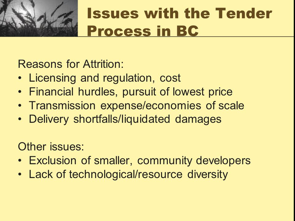 Issues with the Tender Process in BC Reasons for Attrition: Licensing and regulation, cost Financial hurdles, pursuit of lowest price Transmission expense/economies of scale Delivery shortfalls/liquidated damages Other issues: Exclusion of smaller, community developers Lack of technological/resource diversity