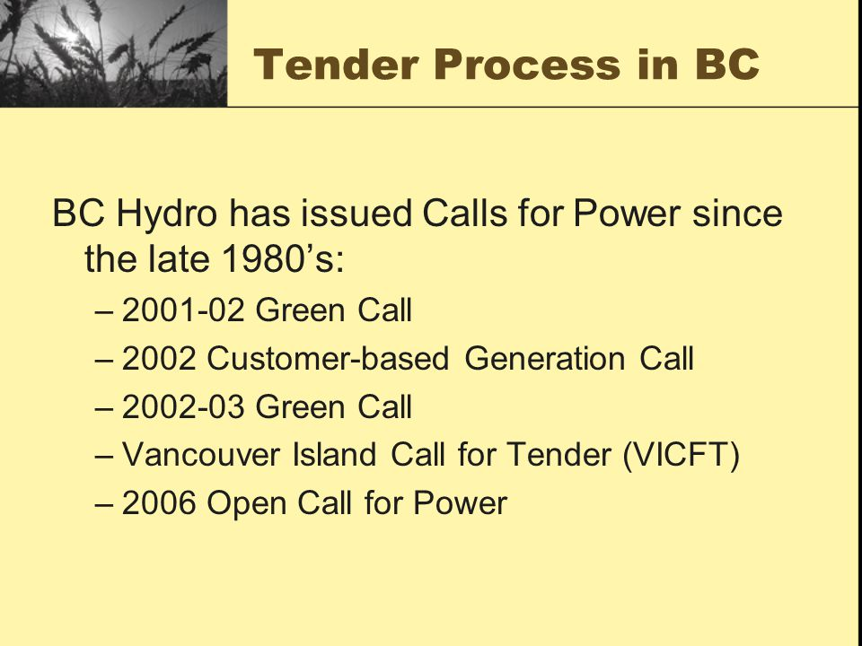 Tender Process in BC BC Hydro has issued Calls for Power since the late 1980s: –2001-02 Green Call –2002 Customer-based Generation Call –2002-03 Green Call –Vancouver Island Call for Tender (VICFT) –2006 Open Call for Power