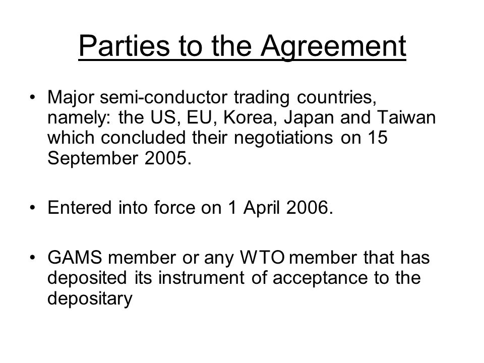 Negotiations initiated in 2004 based on the following considerations: MCPs represent a recent evolution in the packaging of certain semi-conductor devices that allows for a multitude of semi- conductor integrated chips to be combined into one product; Reclassification of MCPs that led to the imposition of duties.