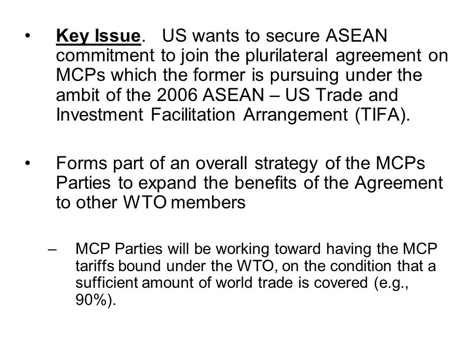 Profile of ASEAN Trade in MCPs Among ASEAN, Singapore, Malaysia and Thailand registered the highest trade with the (5) MCPs Parties, including intra-ASEAN trade.