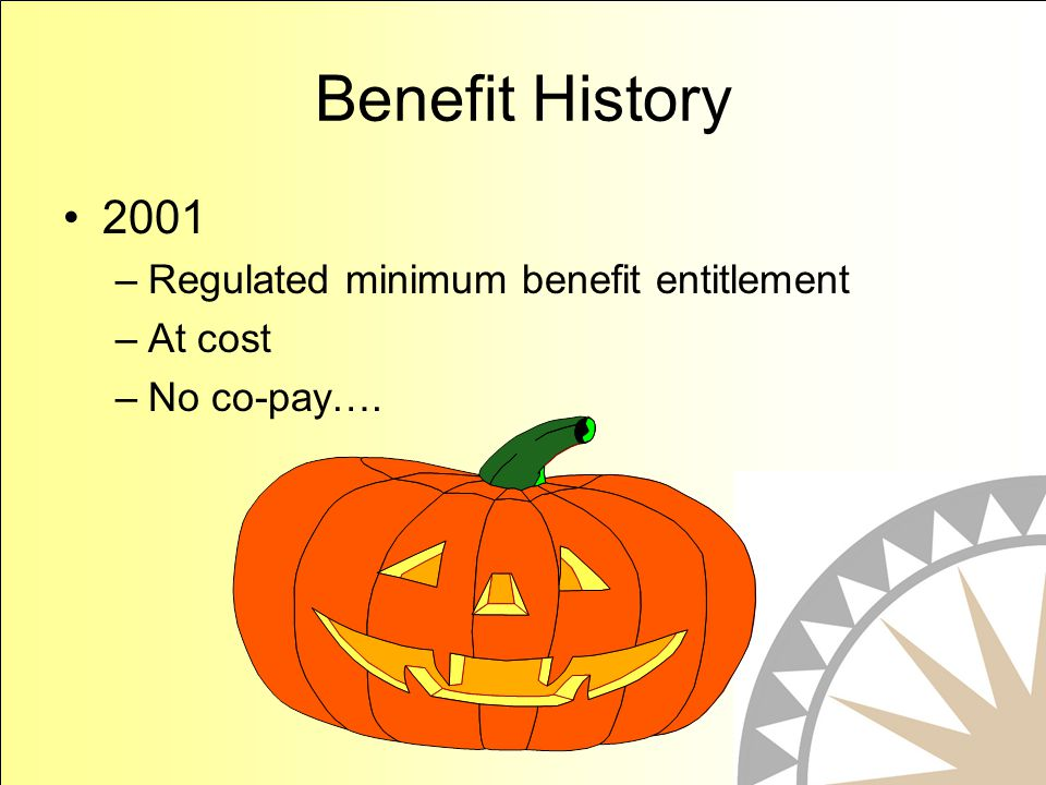 Benefit History 2001 –Regulated minimum benefit entitlement –At cost –No co-pay….