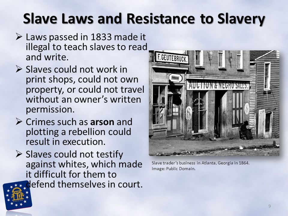 Laws passed in 1833 made it illegal to teach slaves to read and write.