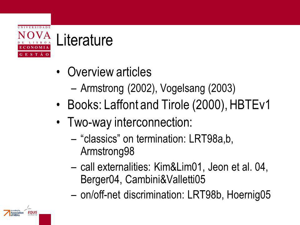 Literature Overview articles –Armstrong (2002), Vogelsang (2003) Books: Laffont and Tirole (2000), HBTEv1 Two-way interconnection: –classics on termination: LRT98a,b, Armstrong98 –call externalities: Kim&Lim01, Jeon et al.