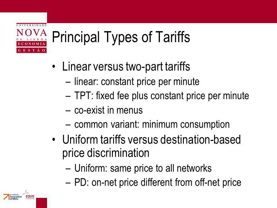 Principal Types of Tariffs Linear versus two-part tariffs –linear: constant price per minute –TPT: fixed fee plus constant price per minute –co-exist in menus –common variant: minimum consumption Uniform tariffs versus destination-based price discrimination –Uniform: same price to all networks –PD: on-net price different from off-net price
