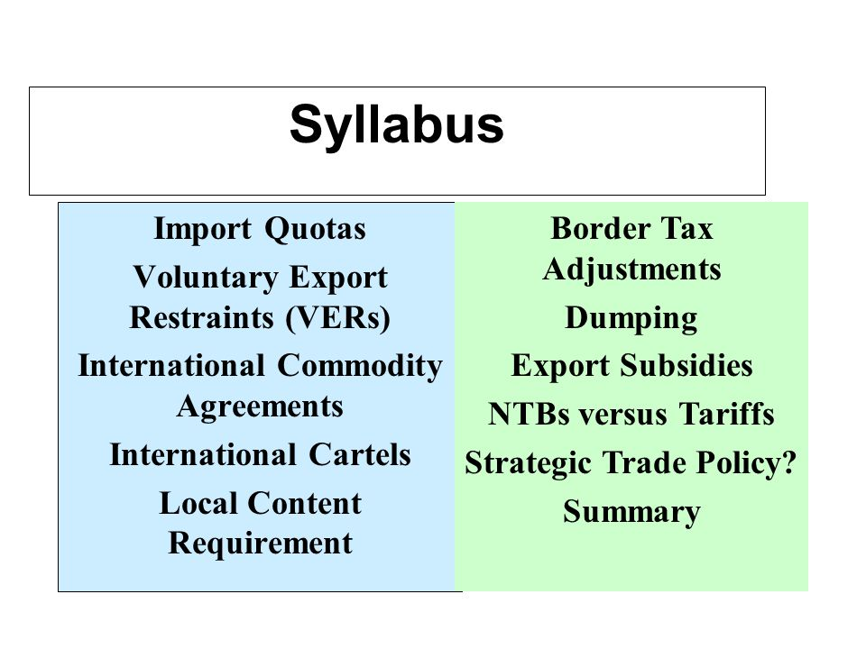 Syllabus Import Quotas Voluntary Export Restraints (VERs) International Commodity Agreements International Cartels Local Content Requirement Border Tax Adjustments Dumping Export Subsidies NTBs versus Tariffs Strategic Trade Policy.