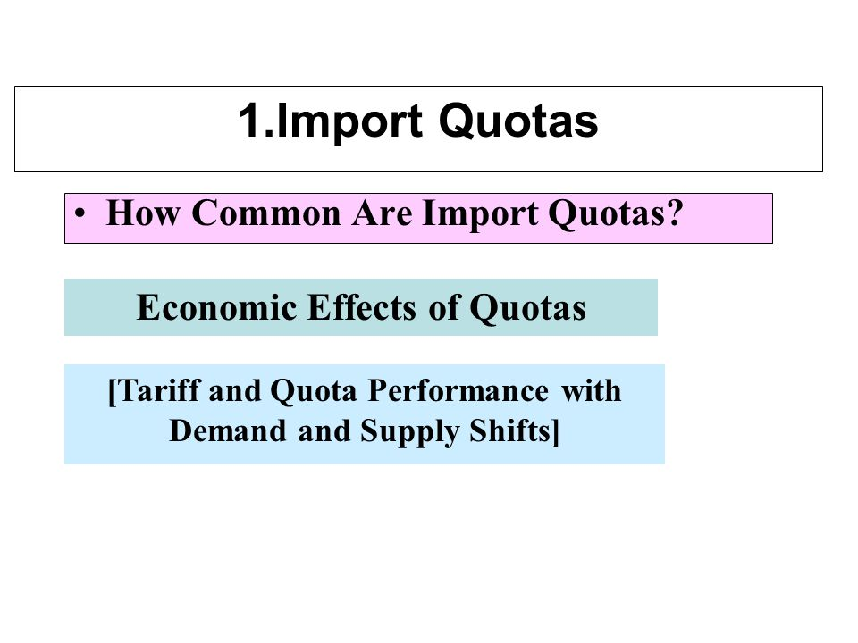 1.Import Quotas How Common Are Import Quotas.
