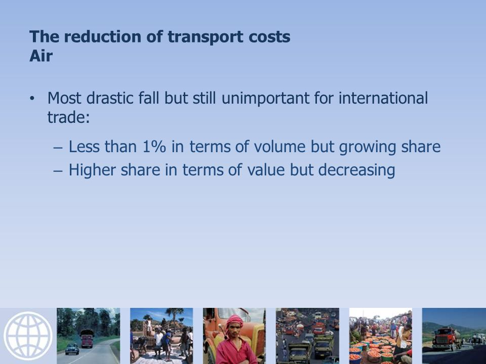 The reduction of transport costs Air 15